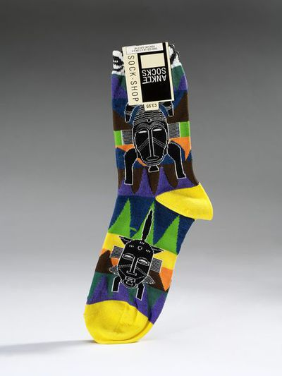 Pair of ankle-socks of cotton, nylon polyamide and elastane, retailed by Sock Shop, England, 1990.