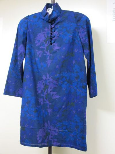 Dress, printed wool, made by Granny Takes a Trip, London, ca. 1967.Mini dress of printed Liberty Varuna wool, in shades of blue, purple and green with Nehru collar, placket and button fastening, long sleeves, and straight shift shape. Hem has been let down since it was originally made.Printed wool.