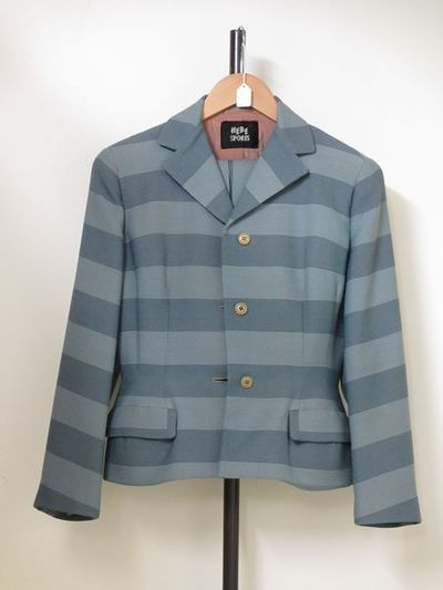 Suit, f, grey and pink striped wool skirt and jacket, Hebe Sports, Britain, 1950s, with costume jewellery brooch.Wool and metal;Wool, rayon;Wool;Metal