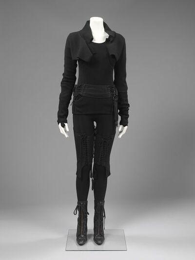 Woman's ensemble, bolero sweater, leggings, chaps, jumper and boots, Helmut Lang, USA, Autumn/Winter, 2003.