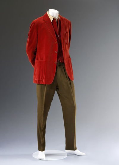 Suit, red velvet jacket and waistcoat, olive wool trousers and mustard cotton blend shirt, Romeo Gigli, designed in Italy, made in Switzerland, 1997.