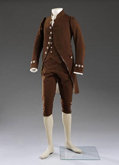 Coat, waistcoat and breeches, dark brown wool, French, ca. 1780.