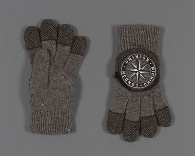 Pair of gloves, wool, part of Fashion New Age Traveller Outfit, Michiko Koshino, Great Britain, 1993-1994.