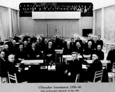 Ullensaker herredstyre 1938-1940. På Romerike folkehøyskole.