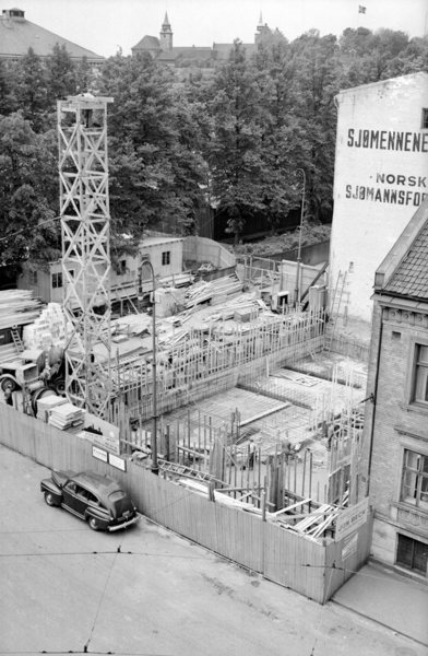 Sjømennenes Hus under bygging,.1952