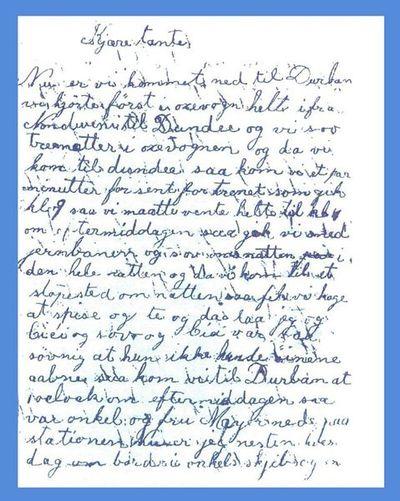 """Kjære tante!"" - Brev fra en norsk ni-åring i Sør-Afrika 1896"
