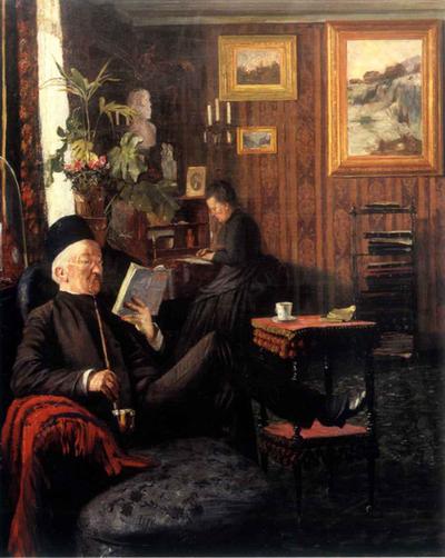 Interiør hos Dr. Dedichen - Karl Jensen-Hjell