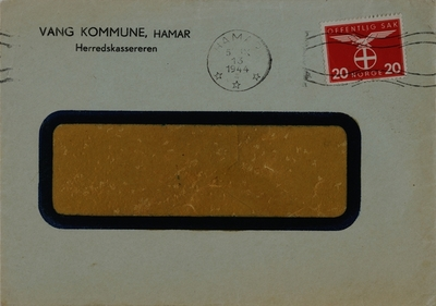 Konvolut fra Vang Kommune, Herredskassereren, Hamar.