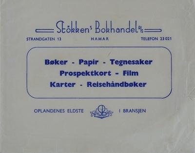 Konvolut fra Støkken`s Bokhandel A/S, Strandgaten 13, Hamar.