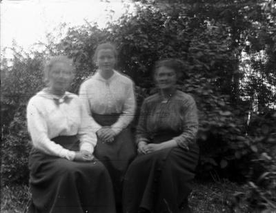 Gruppebilde, tre kvinner i en hage.
