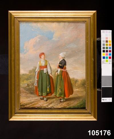 Oljemålning:Bondehustru och dotter i Högtidsdräkt sådan som den brukas i Vingåker