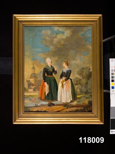 Oljemålning:Bondehustru och dotter i Wärendsdräkt
