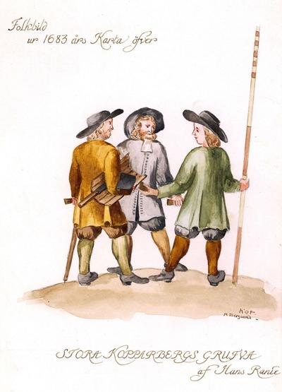 Detalj av 1683 års Karta över Falu Gruva af Hans Ranie. Lavering i färg. Kopia av A. Berglund.  Kopparbergs socken, Dalarna.