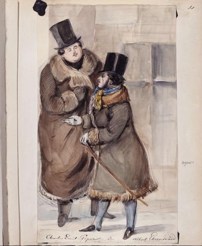Två män, Charles Emil Piper och Albert Ehrensvärd, i vinterrockar och höga hattar står och samtalar. Akvarell av Fritz von Dardel, trol. 1840-tal.