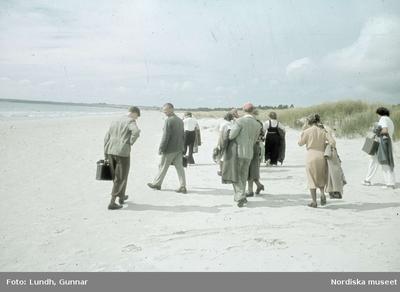 Människor på sandstrand. Sudersand, Fårö.
