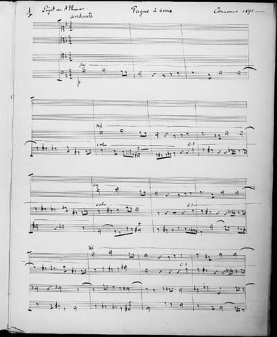 Fugue à Quatre Voix : Sujet de Ambroise Thomas. Concours de 1891