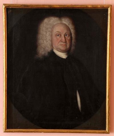 Portrett av eldre mann i halvfigur i rektangulær ramme