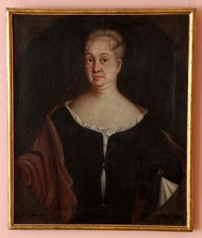 Portrett av kvinne i halvfigur i rektangulær ramme