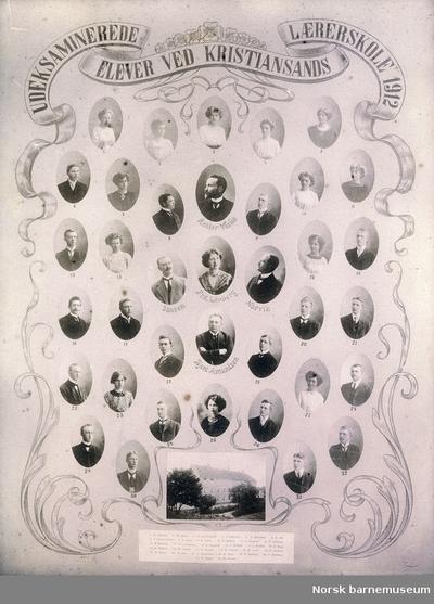 Elever og lærer ved kristiansand lærerskole 1912