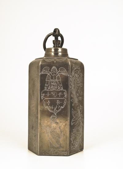 Sekskantet tinnflaske med skrulokk og bærering