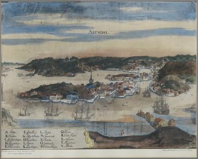 Akvarell, prospekt av Arendal