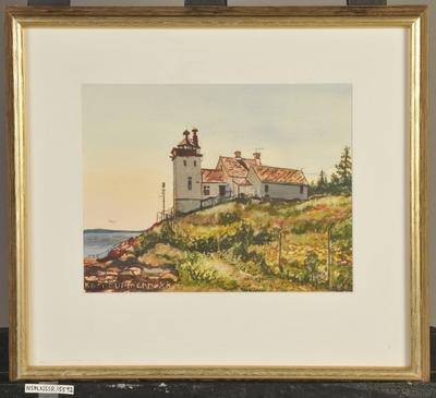 Akvarell av fyr i glass og ramme 62a0cf22111f7