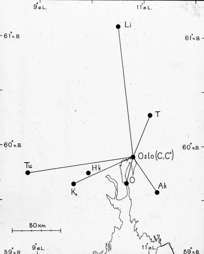 Kart over Carl Størmers observasjonsstasjoner for nordlys