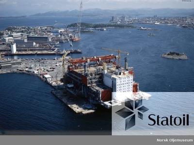 Dekket til Statfjord B er under bygging ved Rosenberg Mekaniske Verksted på Buøy ved Stavanger