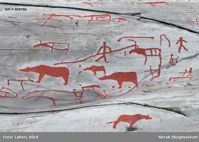 Figurer fra helleristningsfeltet ved Jiebmaluokta eller Hjemmeluft i Alta kommune i Finnmark