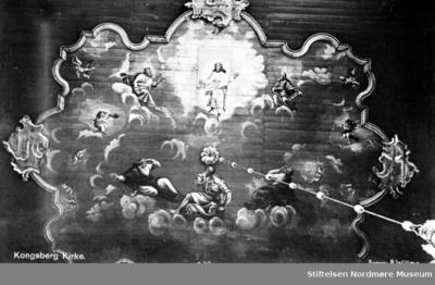 Postkort: Takdekorasjon fra Kongsberg Kirke
