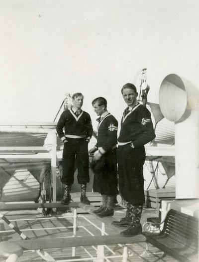 Hans Beck, Birger Ruud og Sverre Kolterud på amerikabåten