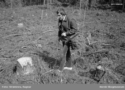 «Dekkrot pluggplanter i M.-95 brett, hoftemeis og hullpipe» «Konsulent Olav Kaveldiget demonstrerer planting. Juni 1977»