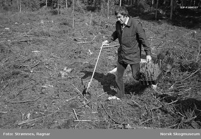 «Dekkrot pluggplanter i M-95 brett, bærehandtak og hullpipe.» «Konsulent Olav Kaveldiget demonstrerer planting. Juni 1977»