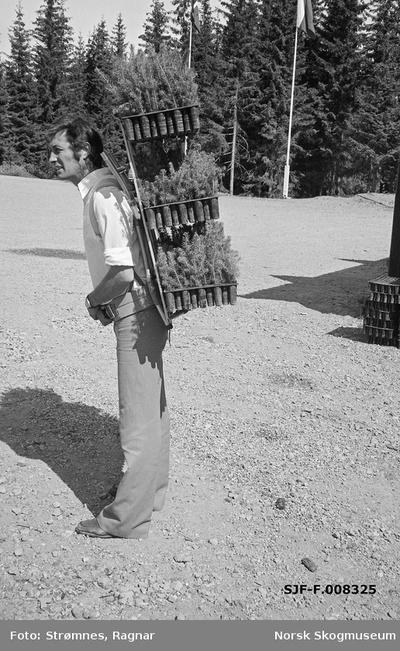 «Reidar Jacobsen demonstrerer ryggmeis for utplanting av pluggplanter i M-95 brett.»«Studier av planting og markberedning i Eidsvoll p. g. skog junmi 1977.»