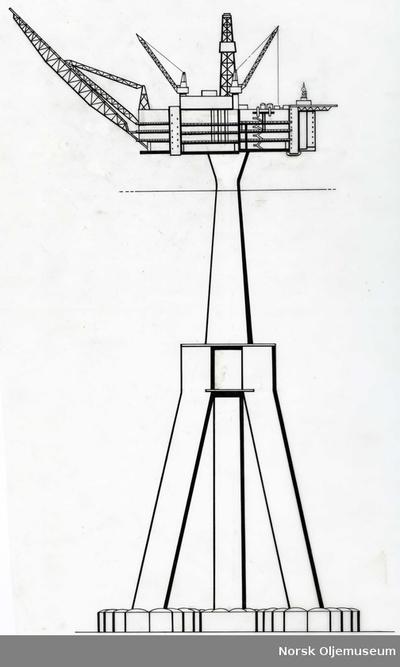 Illustrasjon av plattform med betongunderstell