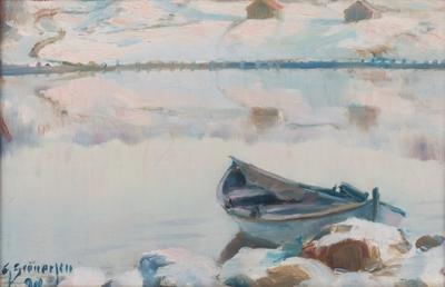Vinterlandskap med robåt