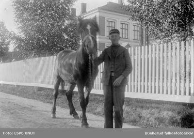 Gutt med hest foran Hønefoss Folkeskole