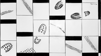 (bordplate med fliser i sort/hvitt)