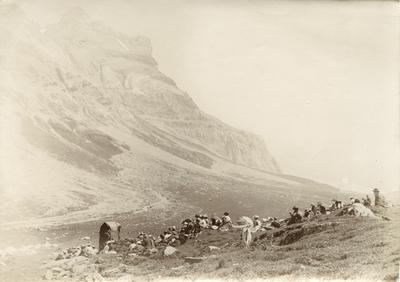 Folkemengde i steinete Alpe-landskap