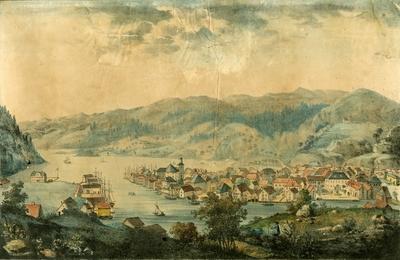 Flekkefjord, prospekt av byen og havnen