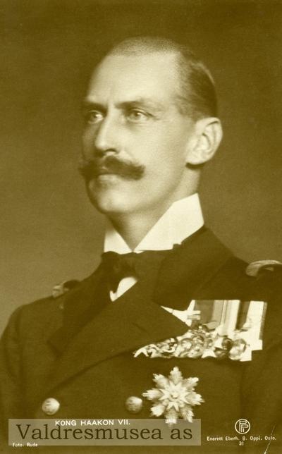 Prospektkort med motiv av Kong Haakon 7