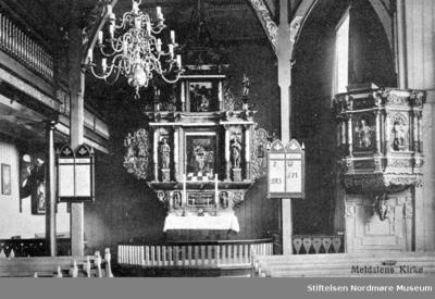 Postkort med tekst: Meldal kirke