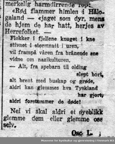 Dikt om brenningen av Finnmark