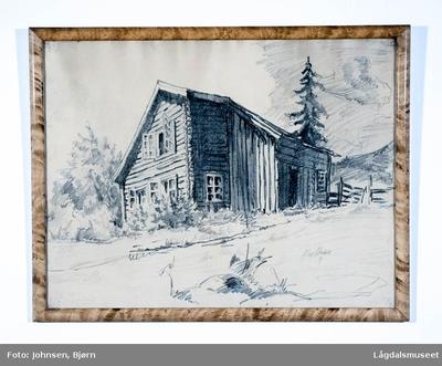 Motivet viser en gammel stue