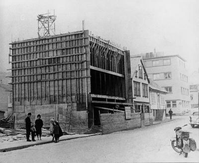 Johan Feyers gate 4 i Egersund under oppbygging etter brannen i 1961