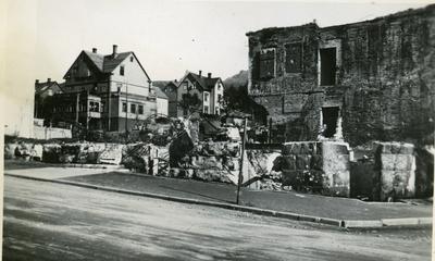 Narvik sentrum etter bombing og brann