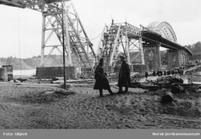 Minnesund bru etter sprengningen i 1940