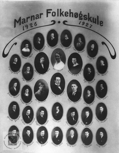 Marnar Folkehøgskole 1926-1927