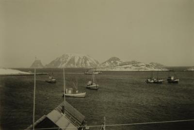 Landskap med fiskebåter