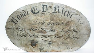 Navnebrett over Randi E Kleive døde den 27 Nov 1855